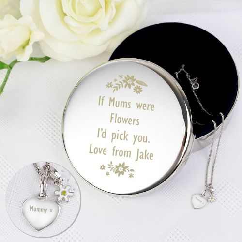 Personalised Floral Round Trinket Box & Silver Heart Pendant